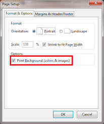 On The Dialog That Pops Up Ensure Print Background Colors Images Is Selected Click OK