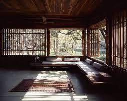 Rustic Zen Interior Design With Wide Glass Window Also Brown Rug On Floor