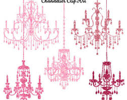 Pink Glitter Chandelier Clip Art Sparkling Chandeliers Clipart Instant Download