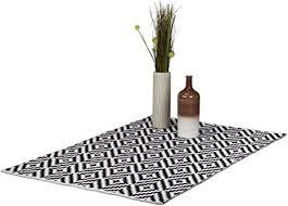 relaxdays teppich baumwolle läufer rutschfest teppichläufer flur gewebt wohnzimmerteppich 120x180 cm schwarz weiß