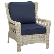 Outdoor Bench Cushions Home Depot by Hampton Bay Park Meadows Off White Stationary Wicker Outdoor