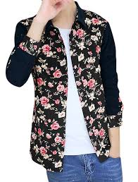 allegra k men floral print long sleeves color block corduroy