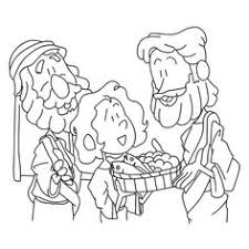 A Boy Sharing His Bread And Fish To Jesus
