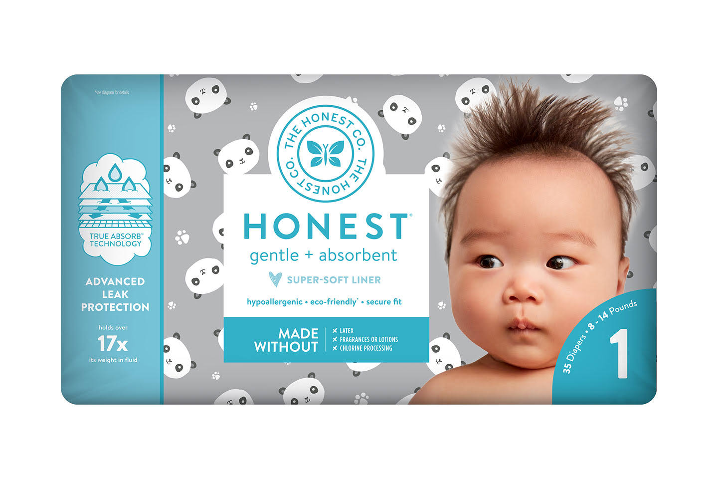 The Honest Company Honest Diapers - Pandas, Size 1, 8-14lbs