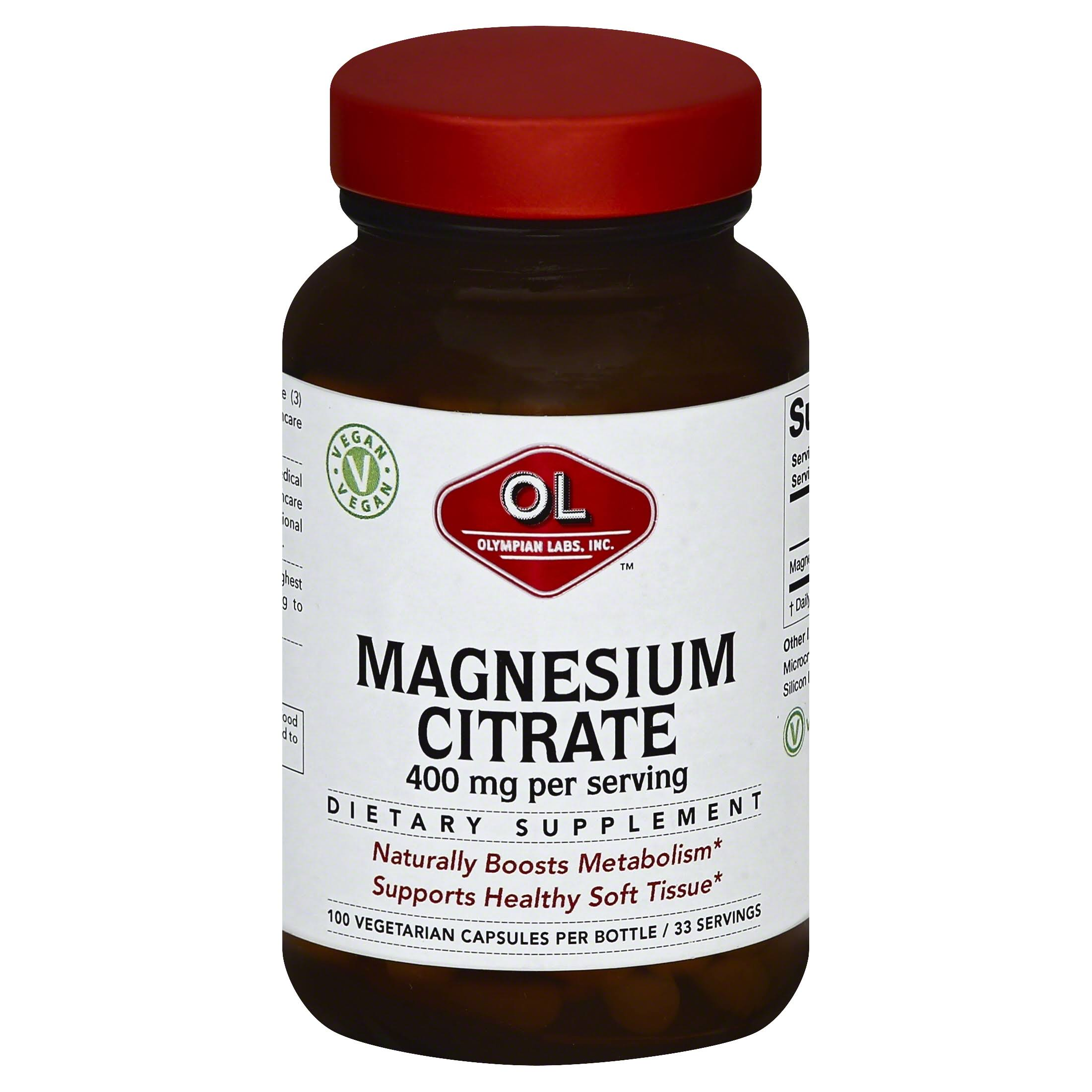 Olympian Labs Magnesium Citrate Supplement - 400mg, 100ct