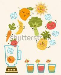Vector Illustration Of Fun Smoothie Characters Happy
