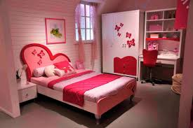 Chic Girl Bedroom Decor With Pink Stained Wooden Single Bed Brown