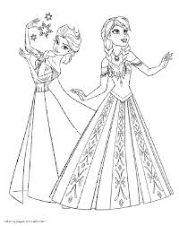 Frozen Coloring Pages In Elsa And Anna To Print