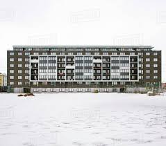 100 Apartments In Gothenburg Sweden Exterior Of An Apartment Building With Snowcapped Landscape At Lindholmen Stock Photo