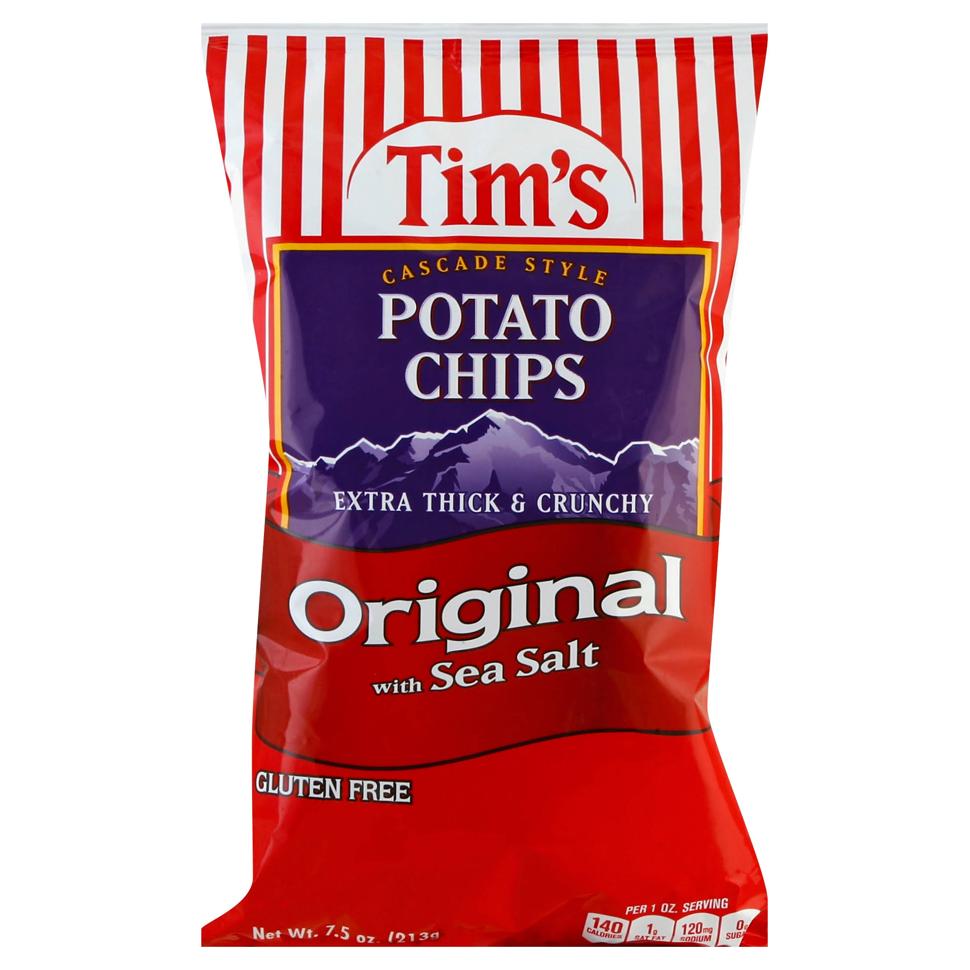 Tims Potato Chips, Original with Sea Salt, Cascade Style - 7.5 oz