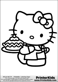 Cake Hello Kitty Coloring Pages
