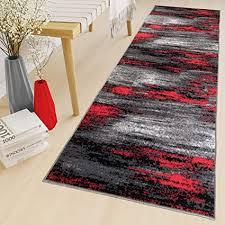 tapiso teppich läufer meterware kurzflor wohnzimmer flur küche modern brücke grau rot schwarz verwischt meliert design ökotex 80 x 250 cm
