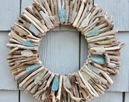 Maine Driftwood Wreath With Sea Glass