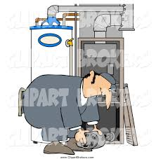 Clip Art Of A White Furnace Repair Man Bending Over While Working On Piece
