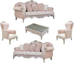 casa padrino luxus barock wohnzimmer set rosa silber gold 2 sofas mit kissen 2 sessel 1 couchtisch wohnzimmermöbel im barockstil edle
