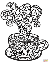 Click The Zentangle Coffee Cup Coloring Pages To View Printable Version Or Color It Online Compatible With IPad And Android Tablets