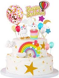 mmtx einhorn tortendeko geburtstag einschulung mädchen deko einhorn tortendekoration kuchen topper regenbogen ballon einhorn happy birthday