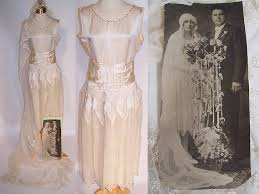1920s Vintage Cream Silk Beaded Bridal Wedding Dress Tambour Lace Veil Photo