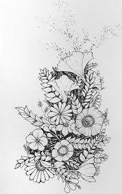 Pin Drawn Daisy Pen 2 Pencil And In Color Flower Bouquet Drawing Tumblr