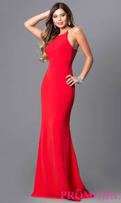 long high neck cut out faviana prom dress promgirl