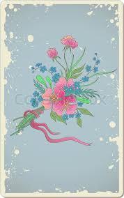 Blue Vintage Vector Floral Background With Bouquet