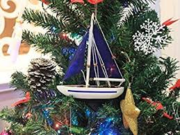 Handcrafted Nautical Decor Blue Sailboat With Sails Christmas Tree Ornament 9