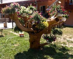 Rustic Flower Support Hardwood Planters