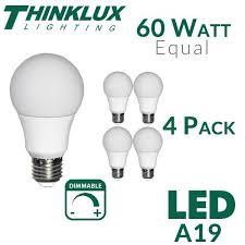 thinklux a19 led light bulb 9 watt 60 watt equal dimmable