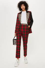 Mixed Tartan Check Trousers Trousers Leggings Clothing Topshop