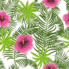 Stock Vector Of Tropical Jungle Palm Leaves And Hibiscus Pattern Background Exotic Nature