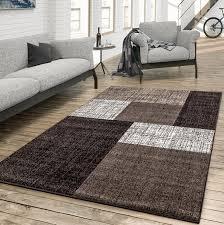 teppich für das wohnzimmer kariert modern braun beige creme