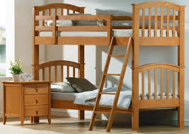 bedroom vintage bunk bed design with brown wood material and