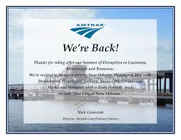 Glad To Be Back: Full Amtrak City Of New Orleans Service ... Amtraks Black Friday Sale Has Tickets For As Low 19 Amtrak Coupon Codes Family Christian Code Bedandbreakfastcom Promo Dublin Amc Movies 18 Smart Philippines Superbiiz Reddit Travel Deals Group Travel Discount On And Business Pin By Spoofee Deals Discount Tips Train Tickets A Review Of Acela Express In First Class Sports Direct Coupon Codes Over 100 Purchased 10 Oneway Zipcar Code Discounts Grab Your Friends And Plan Trip Because Is