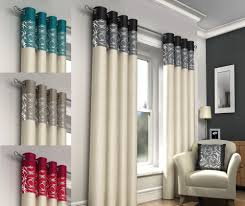 Ebay Curtains With Pelmets Ready Made by Retro Look Plain Eyelet Top Ring Top Curtains Skye Faux Silk
