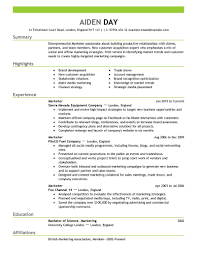 Marketing Resume Examples 2016 By Aiden