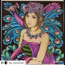 Very Prettyika Carpediem With Repostapp A Peacock Girl Fron Fantasia Book Coloring