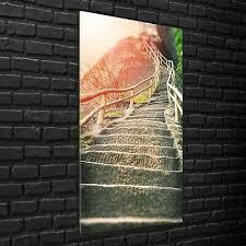 wandbilder glasbilder wohnzimmer 70x140 treppe im bergwald