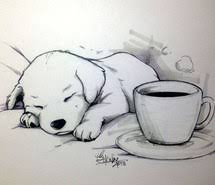 Coffee Cup Cute Dog Drawing Painting