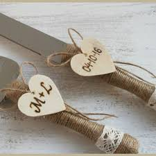 Personalized Cake Serving Set Server Cutting Rustic Knife Wedding