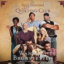 The Half Stitched Amish Quilting Club Audiobook Cover Art Lopsided Christmas Cake