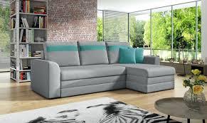 ecksofa sofa niobe mit schlaffunktion grau türkis ottomane rechts