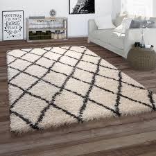 hochflor teppich wohnzimmer shaggy skandi rauten muster weich flauschig in creme