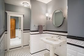 kansas city black and white tile bathroom ideas traditional with