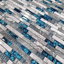 mosaikfliesen für küche glas blau naturstein marmor fliesen grau badezimmer wandfliesen kamin u bahn heimwerkermaterialien packung mit 11