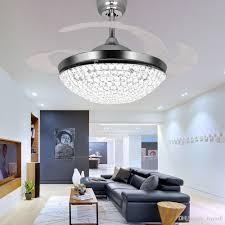 Crystal LED Ceiling Fans Light 42 Inch Mordern Fan Chandelier With Remote Control For Indoor Living Dining Room Bedroom House