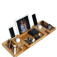 bamboo bathtub caddy tray with reading tray wine glass holder