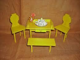 details zu esszimmer und kaffeeservice gelb 1 12 50er jahre puppenmöbel alt tisch stühle