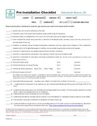 Pre Installation Checklist