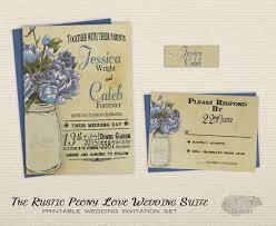 Printable Rustic Wedding Invitation Set Mason Jar Vintage Shabby Chic With Blue Peonies
