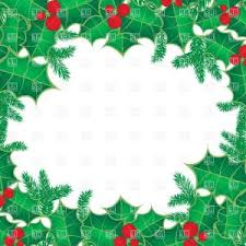 Christmas Frame With Holly Berry Leaves Vector Clipart